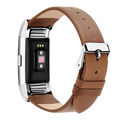 POY Replacement Bands Compatible for Fitbit Charge 2, Genuine Leather Wristbands, Matte Brown