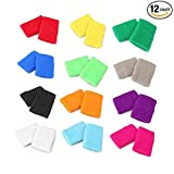KEKLLE 12 Pairs Colorful Sports Wristbands Cotton Sweatband Wristbands Wrist Sweatbands Wrist Sweat Bands for Tennis,Sport, Basketball,Gymnastics,golf,Running