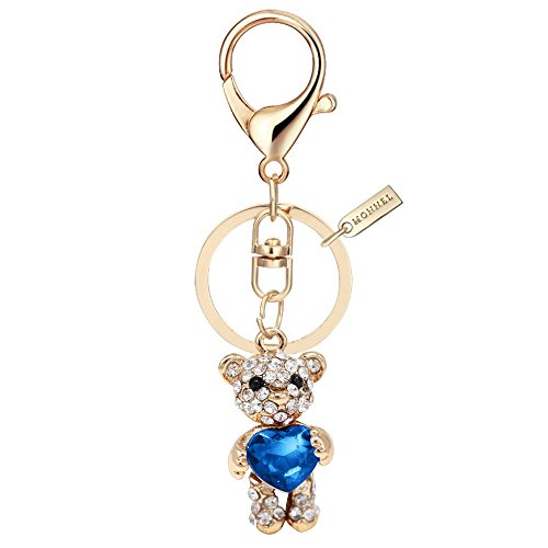 Bling Bling Crystal Teddy Bear with Blue Heart Design Keychain Key Ring Creative Packaging Design Box MZ823-3 ()