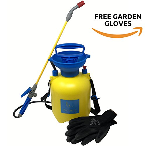 Könnig Lawn and Garden Sprayer 0.8 gallon - Portable Pump Pressure Weed Killer with Nozzle for Water, Pesticides, Chemicals - 1 FREE Pair of One-size Garden Gloves - Polyethylene Tank Compression Sprayer