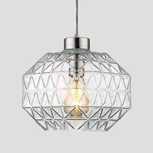 Contemporary Glass Ceiling Pendant Light - Contemporary Pendant Light Handblown Clear Glass Shade Drop Ceiling Lights, 9.8