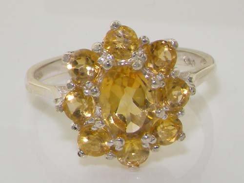 Haute Qualité Bague pour Femme en Or blanc 417/1000 (10 carats) sertie de Citrine - Tailles 47 à 68 disponibles