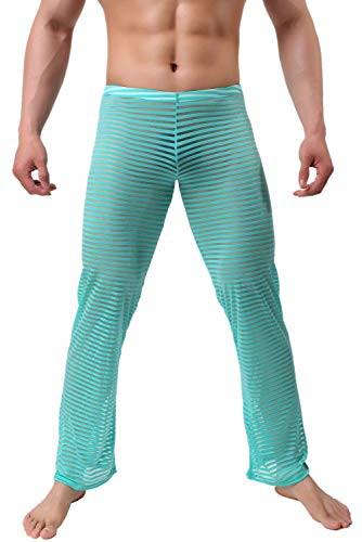 (KAMUON Men's Summer Sexy Mesh See Thru Stretchy Lightweight Sleep Lounge Pants (US M = Asian Tag L : Waist 32