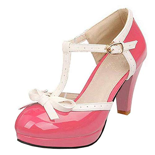 Vitalo Women's High Heel Platform Pumps with Bows Vintage T Bar Court Shoes Size 9 B(M) US,Hot Pink
