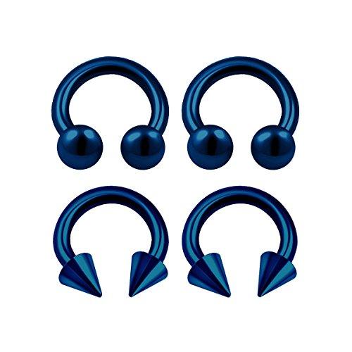 Cone Horseshoe Ring - 4PCS Surgical Steel Dark Blue Horseshoe Hoop 16 gauge 1/4 6mm 3mm Ball Cone Lobe Helix Earrings Nose Piercing Jewelry 0408