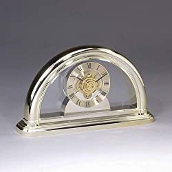 Gifts Engraved Personalized Goldtone Clear Desk Clock with See Through Movement