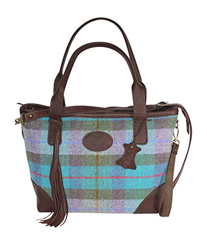 Wild Scottish Deerskin Designer Leather Turquoise Tartan Check Harris Tweed Large Tote Tassle Bag