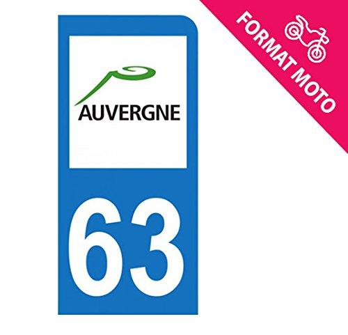 Autocollant Moto immatriculation 63 - Puy de Dôme