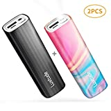 Luxtude myColors 10000mAh Small Portable Phone Charger for iPhone, iPad, Samsung Galaxy, LG and Other Android Phone, Gift Power Banks with Flashlight, Compact External Battery Pack (2 PCS 5000mAh)