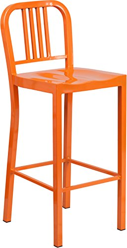Beau 30u0027u0027 High Orange Metal Indoor Outdoor Barstool