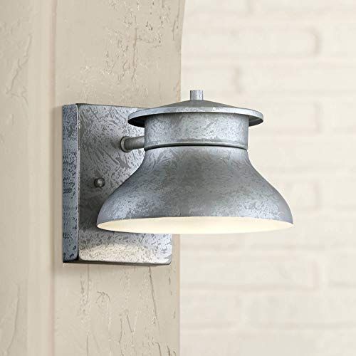 "Danbury Modern Outdoor Wall Light Fixture LED Galvanized Steel 5"" Non Glass Dark Sky Design for Exterior House Porch Patio Deck Barn - John Timberland"