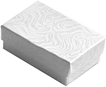 White Boxes with cotton filled inserts Available in many sizes and quantities.