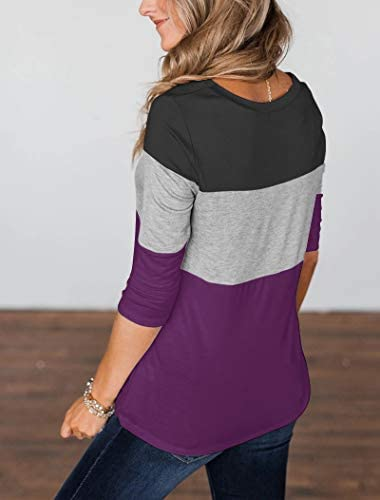 MINTHUNTER WOMEN'S HALF SLEEVE T SHIRTS CASUAL COLOR BLOCK ROUND NECK SPRING TOPS