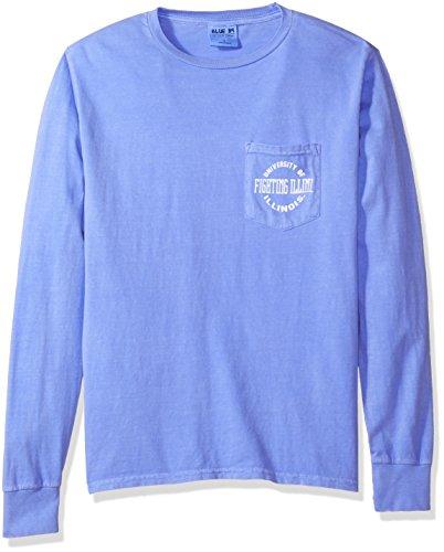 (Blue 84 NCAA Illinois Illini Adult Unisex NCAA Dyed Ringspun Longsleeve Tee with Pocket,Small,Periwinkle)