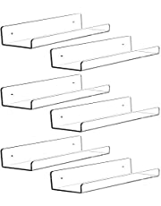 6 PCS Acrylic Invisible Floating Bookshelf for Kids Room,15 inch Modern Picture Ledge Display Toy Storage Wall Shelf 5MM Thick U Shelves Storage Rack