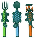 Constructive Eating Construction and Dinosaur Combo with 2 Utensil Sets and 2 Plates for Toddlers, Infants, Babies and Kids - Flatware Set is Made in The USA Using Materials Tested for Safety, Green