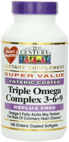 21st Century Dietary Supplement Triple Omega Complex 3-6-9 Enteric Coated Softgels, 180-Count Bottles (Pack of 2)