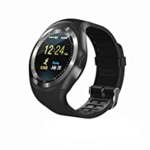 RabbyRock Y1 Bluetooth SmartWatch - HD IPS Round Touch Screen Cell Phone Watch with SIM TF Card Slot SmartWatch Pedometer Sleep Monitor Remote for Android (Black)