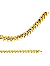 Miami Cuban Necklace Solid 14k Yellow Gold Chain Curb Link Heavy Big Large Genuine, 6.9 mm - 22,24,26 inch