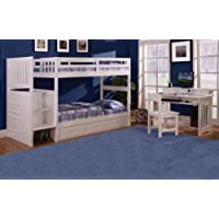 Twin Over Twin Stair Stepper Bed with Trundle, Desk, Hutch, Chair and 5 Drawer Chest in White Finish