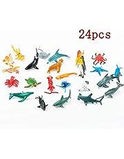 BAOZHONGDA 24pcs Plastic Sea Animal Figures Animal Toys | Mini Sea Animal Toys Set Realistic Animal Sea Life Figures Toy Educational Animal Learning Toys Bath Toys for Child