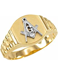 10k Yellow Gold Freemason Masonic Ring Size 6-16