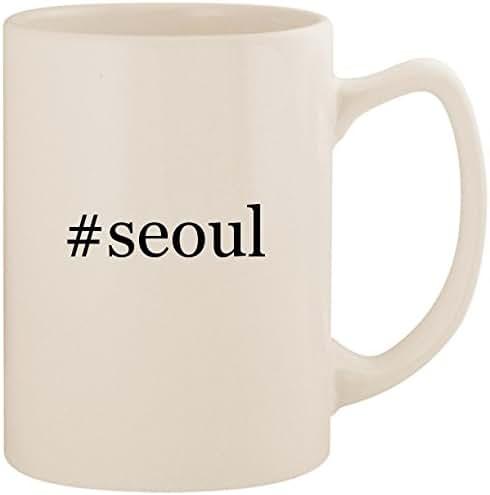 #seoul - White Hashtag 14oz Ceramic Statesman Coffee Mug Cup