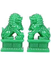I-MART 2 Pcs Fu Foo Dogs Guardian Lion Statues, Feng Shui Chinese House Décor, Chinese Lion Dog Fengshui Fudogs Statue