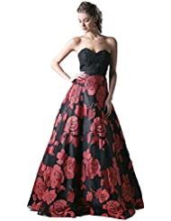 Meier Womens Strapless Rosette Embroidery Evening Ball Gown