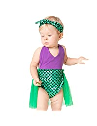 Vine Newborn Baby Photography Mermaid Sequins Romper Tutu Dress with Headband