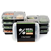 Meal Prep Haven Stackable Reusable 3 Compartment Food Containers with Lids, Set of 7