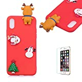 Cute Cartoon Case For iPhone X/iPhone XS,Funyee Stylish 3D Christmas Deer Design Ultra Thin Soft TPU Silicone Case for iPhone X/iPhone XS 5.8 inch,Anti-scratch Rubber Durable Shell Smart Phone Case with Free Screen Protector,Red