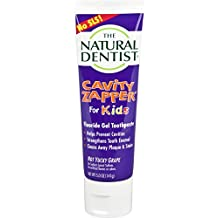 The Natural Dentist Cavity Zapper Fluoride Gel Toothpaste for kids helps prevent cavities, strengthens tooth enamel, and cleans away plaque and stains. Not Yucky Grape flavor, 5 oz. tube.