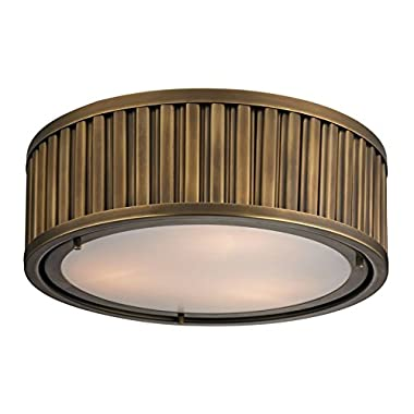 Elk Lighting 46121/3 Linden Collection 3 Light Flush Mount, Aged Brass