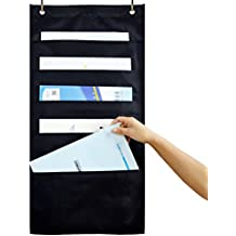 ZKOO Hanging File Folder Holder Cascading Fabric Organizer, Home School Office Classroom Filing Storage (5 pocket)
