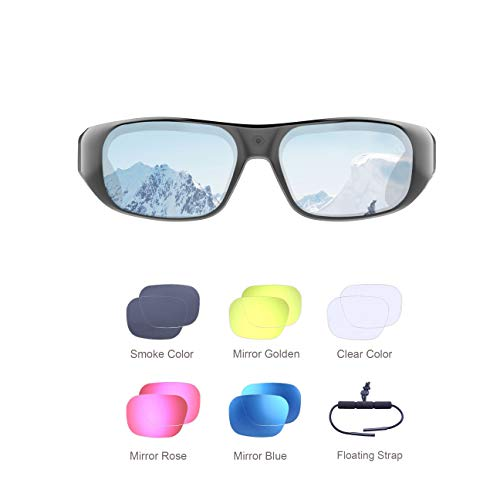 Waterproof Video Sunglasses,128GB Ultra 1080P Full HD Outdoor Sports Action Camera and 6 Sets Polarized UV400 Protection Safety Lenses,Unisex Sport Design