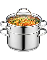 GOURMEX Tango Induction 3Pc Steamer Pot | Multi Level Food Steamer with Glass Cookware Lid | Double Boiler Pot Set | Compatible with All Heat Sources | Dishwasher Safe Cooking Set (18cm)