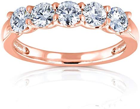 Kobelli Five Stone 4/5 Carat TGW Round Brilliant Moissanite Bridal Wedding Band in 14k Rose Gold (DEF/VS)