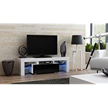 "TV Stand MILANO 130 / Modern LED TV Cabinet / Living Room Furniture / Tv Console fit for up to 55"" flat TV screens / Capacity Tv Console for Modern Living Room (WWhite & Black)"