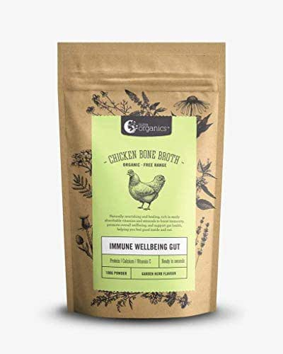 Organic Free-Range Chicken Bone Broth Powder with Garden Herbs - Naturally-Occurring Collagen, Vitamins, & Minerals - 12-Hour Slow-Cook For Max Nutrients, Digestion, Joint Health, & Stress Relief