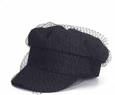5555461d Women Newsboy Cap Denim Blue Flat with Veil Ladies Elegant Hats Ivy Vintage  Autumn Baker Boy
