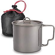 Navaris Titanium Camping Cup Mug - 600 ml (20.3 oz) Metal Cookware Pot for Coffee, Water and Hot or Cold Food