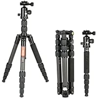 COMAN C2016 Carbon Fiber Camera Tripod Lightweight 56.7 inches Compact for Travel with 360 Degree Ball Head for Canon Nikon Sony DSLR