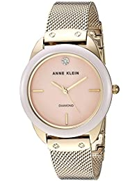 Women's Diamond Dial Mesh Bracelet Watch with Ceramic Bezel, AK/3258LPGB