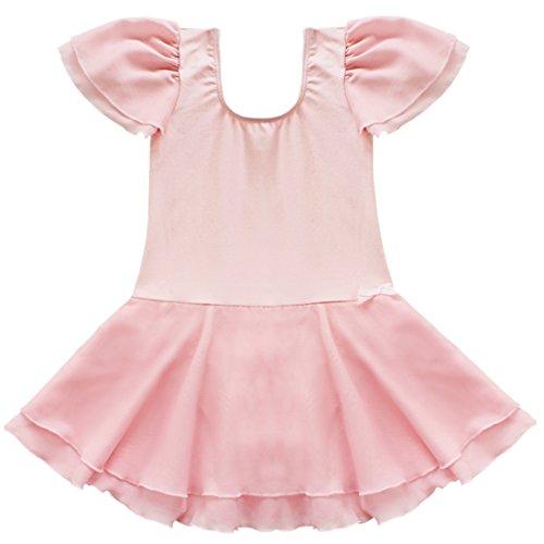 YiZYiF Girls Kids Ballet Dancewear Skating Dress Leotard Skirt Outfit Clothes (2-3, Pink)
