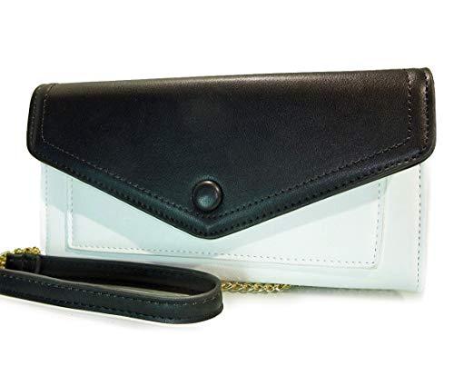 - Madison West Organizer Clutch Wallet w/Strap -White/Black