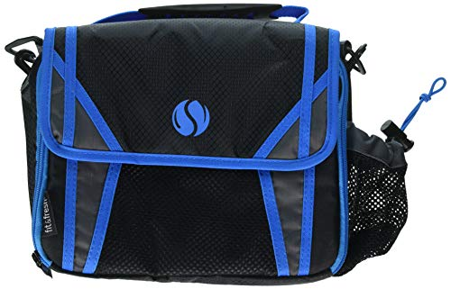 - Fit & Fresh Sport Insulated Messenger-Style Lunch Bag, with Adjustable Cross Body Strap for Adults and Kids, Zipper, Black with Blue Trim