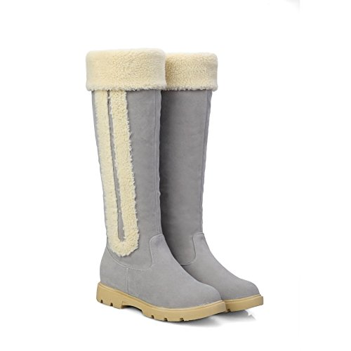 Allhqfashion Womens Frosted Pull-on Ronde Gesloten Neus Lage Hakken High-top Laarzen Grijs