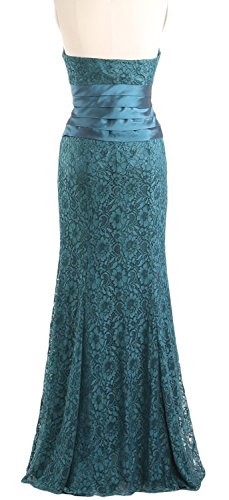 MACloth Women Mermaid Strapless Lace Evening Gown Wedding Party Formal Dress Wisteria