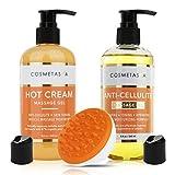 Anti Cellulite Treatment Kit- Massage Oil, Hot Cream & Cellulite Massager Mitt
